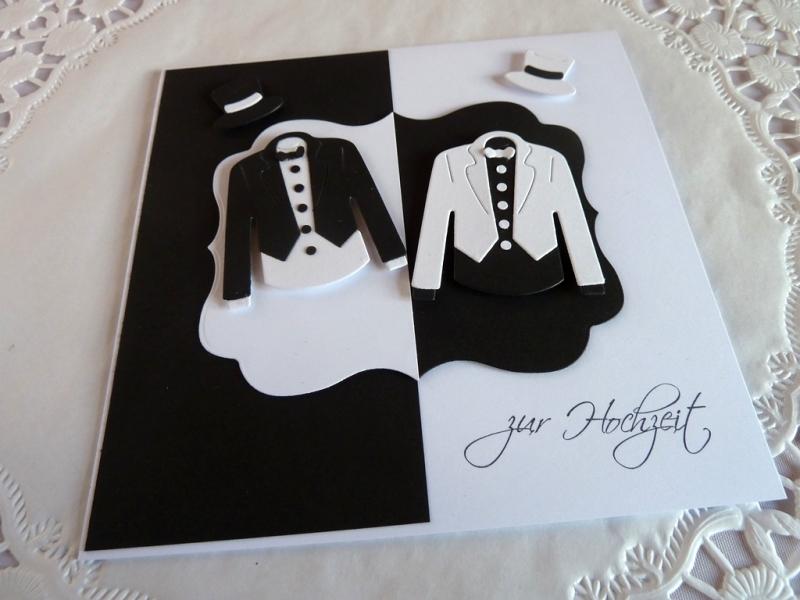 Kleinesbild - Edle Hochzeitskarte in schwarz/weiß/Männerhochzeit/quadratisch/Weddings/