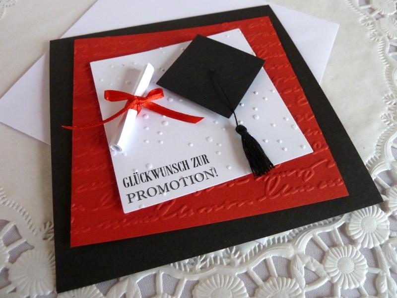 Kleinesbild - Glückwunschkarte zur Promotion mit Doktorhut und Schriftrolle