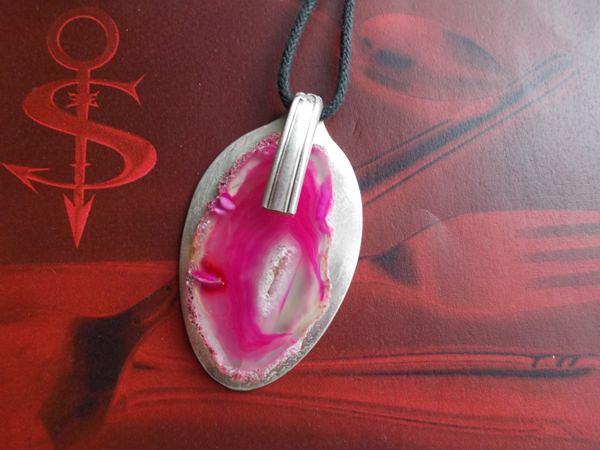 -  Besteckschmuck einzigartiger Anhänger ♥ Achat pink -  Besteckschmuck einzigartiger Anhänger ♥ Achat pink