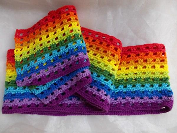 - Schal  ♥ wunderschöner Häkelschal Regenbogen handarbeit gehäkelt - Schal  ♥ wunderschöner Häkelschal Regenbogen handarbeit gehäkelt
