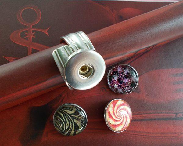 Kleinesbild - Besteckschmuck Ring 02 ♥ Ring Set 4 teilig Größe 56 / 57 Druckknopf Cabochon switch push button