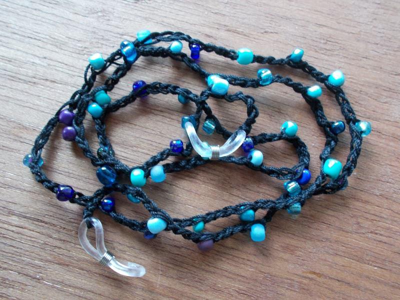- Brillenband Brillenkette  Perlenbrillenband ♥ *schwarz/türkis* - Brillenband Brillenkette  Perlenbrillenband ♥ *schwarz/türkis*