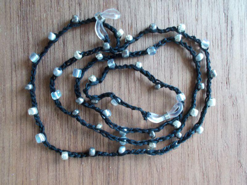 - Brillenband Brillenkette  Perlenbrillenband ♥ *schwarz/silber* - Brillenband Brillenkette  Perlenbrillenband ♥ *schwarz/silber*