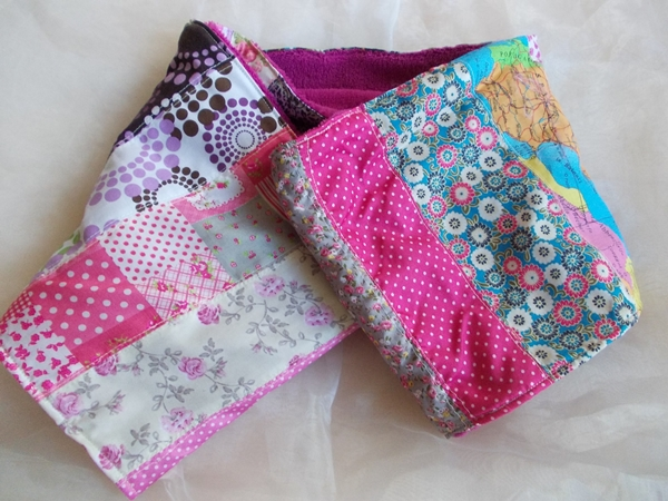 Kleinesbild - Schal  ♥ wunderschöner Schlauchschal LOOP-Schal buntes Patchwork pinker Fleece handarbeit genäht