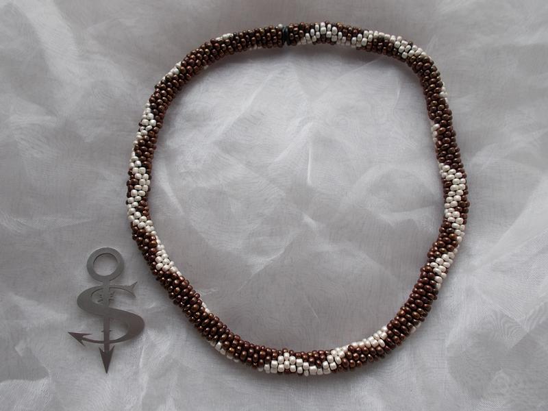 - Halskette  Perlenkette Glasperlen Rocailles ♥ ZickZack perlmut braun - Halskette  Perlenkette Glasperlen Rocailles ♥ ZickZack perlmut braun