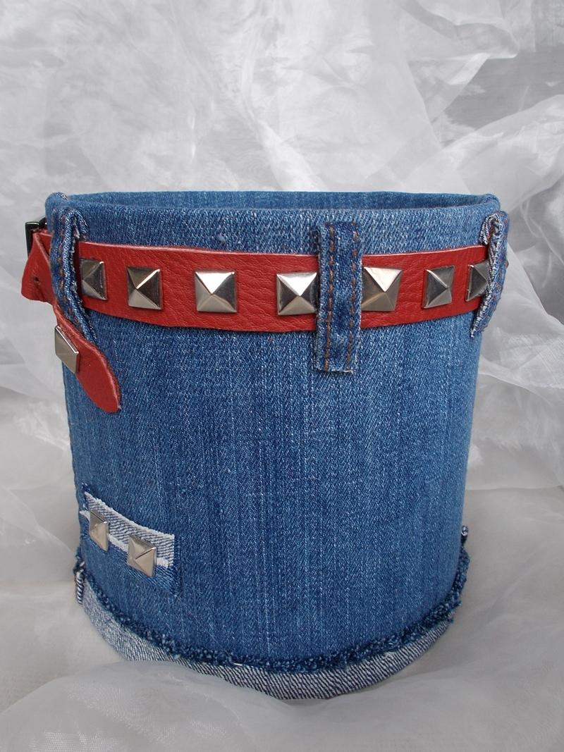 Kleinesbild - Blumentopf Übertopf Tischeimer Geldgeschenk ♥ HOT JEANS  Jeans + echt Leder rot blau