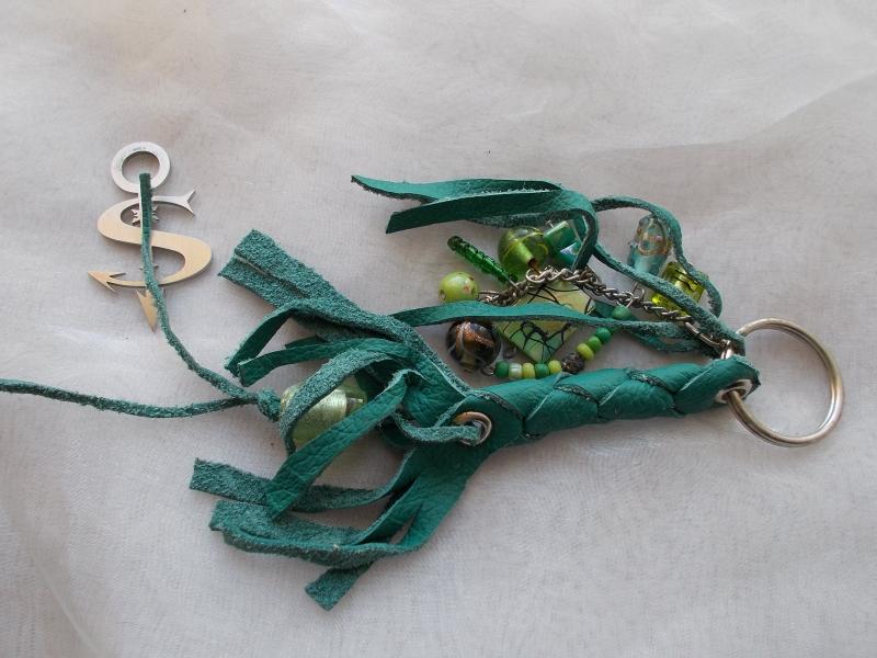 - Schlüsselanhänger Schmuckanhänger Schlüsselring echt Leder ♥ Pretty Pearls grün - Schlüsselanhänger Schmuckanhänger Schlüsselring echt Leder ♥ Pretty Pearls grün