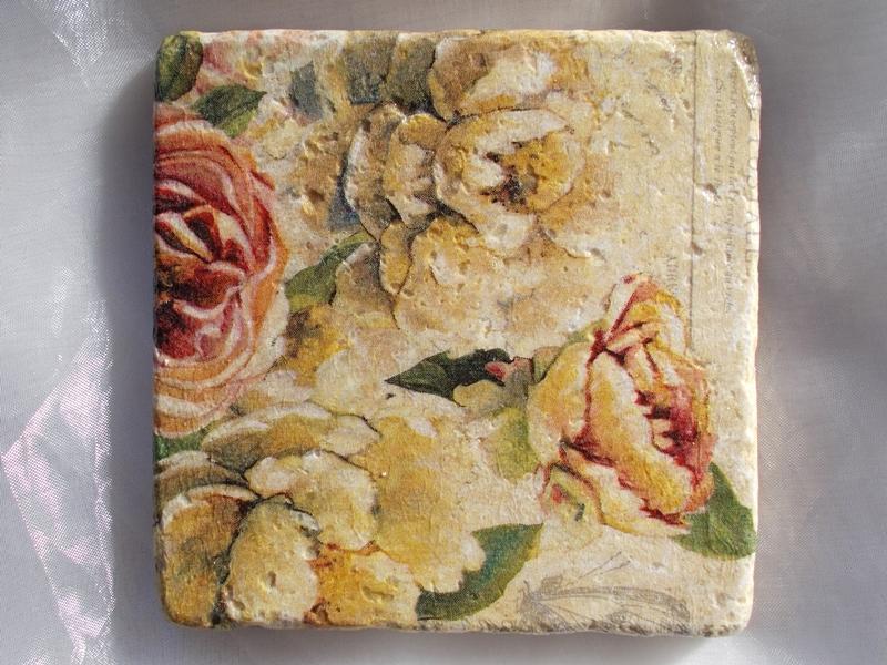 Kleinesbild - Untersetzer Fliese ♥  *Garden Rose* 2 Stück im Set