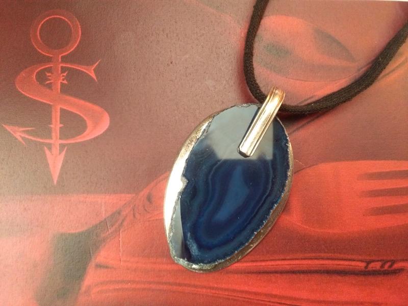 -  Besteckschmuck einzigartiger Anhänger ♥ Achat blau  -  Besteckschmuck einzigartiger Anhänger ♥ Achat blau