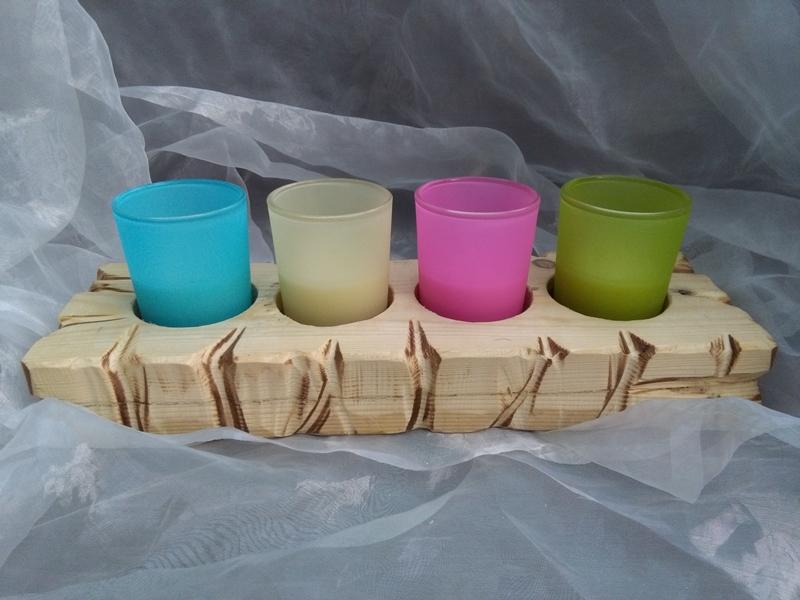 Kleinesbild - Kerzenhalter Teelichthalter Kerzentablett  ♥  * Regenbogen * aus  Palettenholz und Glas