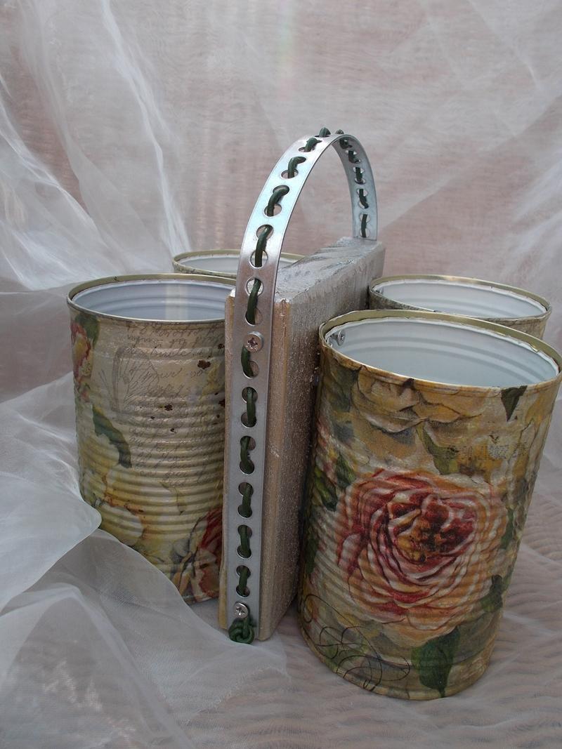 Kleinesbild - Besteckhalter Stiftehalter Aufbewahrung  ♥  * Rosengarten * Shabby Chic aus  Holz und Konservendosen