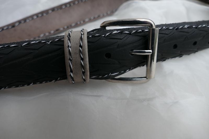 Kleinesbild - Gürtel ♥ Upcycling Gürtel Fahrradreifen mit Profil und beigen Leder L