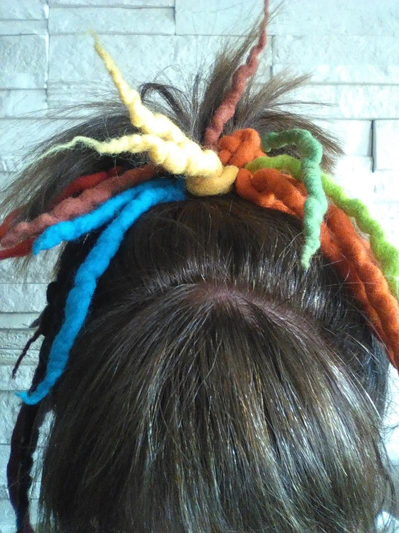Kleinesbild - Haargummi gefilzt ♥ Haargummi Dreadlocks *Herbst* Haarschmuck Dreadlocks-Gummi