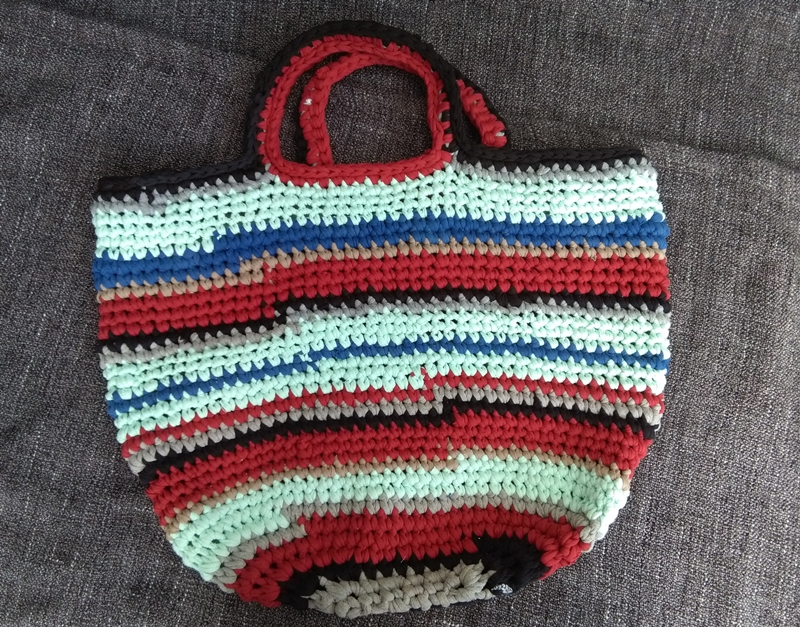 Kleinesbild - Tasche Shopper Einkaufstasche Strandtasche Häkeltasche ♥ Häkeltasche - *Shirt-Shopper* rot blau türkis grau schwarz