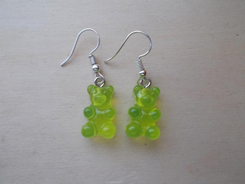 - *COLORADO* ♥ Ohrhänger aus handgefertigten Resin/ Epoxidharz Perlen in Form von Gummibärchen gelb/grün - *COLORADO* ♥ Ohrhänger aus handgefertigten Resin/ Epoxidharz Perlen in Form von Gummibärchen gelb/grün