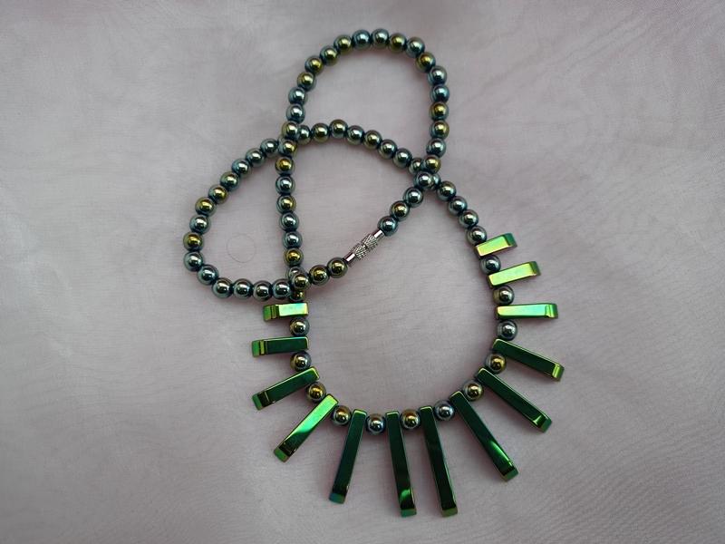 Kleinesbild - Halskette Perlenkette Collier Edelstein ♥ HÄMATIT *CLEOPATRA RAINBOW* grün metallic mit Farbverlauf