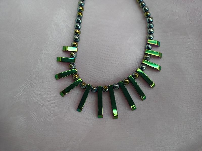- Halskette Perlenkette Collier Edelstein ♥ HÄMATIT *CLEOPATRA RAINBOW* grün metallic mit Farbverlauf - Halskette Perlenkette Collier Edelstein ♥ HÄMATIT *CLEOPATRA RAINBOW* grün metallic mit Farbverlauf