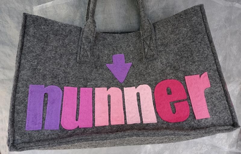 Kleinesbild - Tasche Tragetasche Filztasche ♥ Hessische Tasche Filzltasche - *NUFF-NUNNER* Grau türkis pink