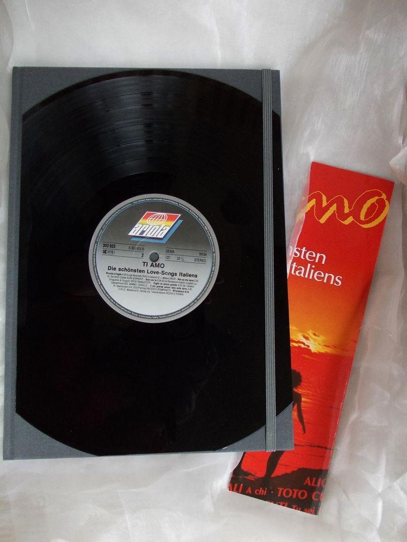 - Kladde A4 Hardcover Notizbuch ♥ Schallplatte Ti amo - Kladde A4 Hardcover Notizbuch ♥ Schallplatte Ti amo