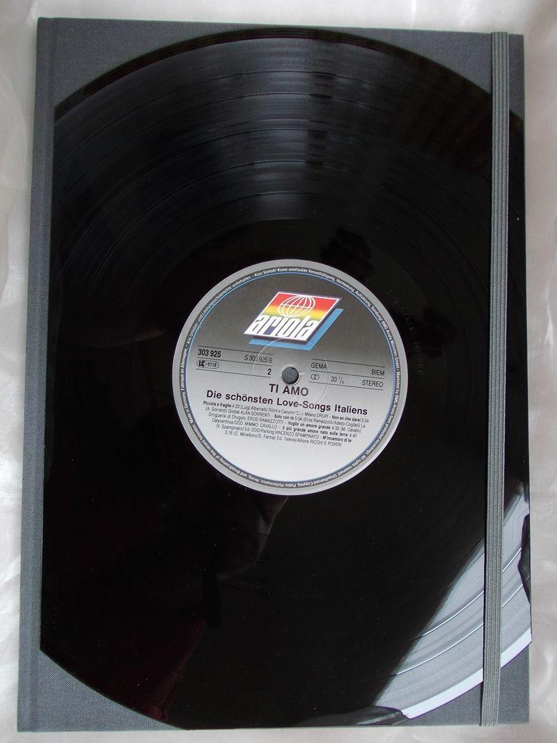 Kleinesbild - Kladde A4 Hardcover Notizbuch ♥ Schallplatte Ti amo