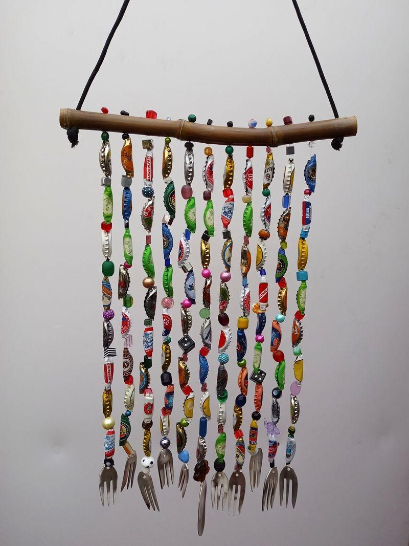 Kleinesbild - Windspiel   ♥  Kronkorken-Perlen-Mobile