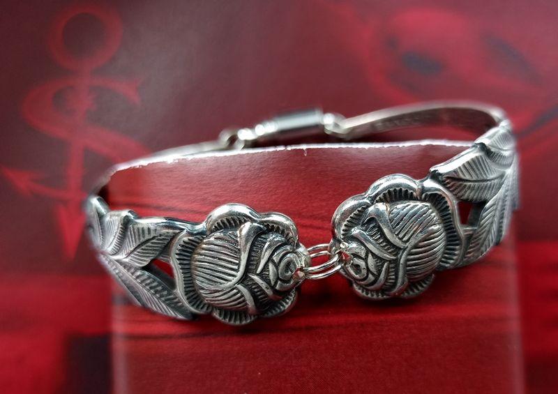 - Besteckschmuck Armband Armreif mit Magnet ♥ Open Rose  - Besteckschmuck Armband Armreif mit Magnet ♥ Open Rose