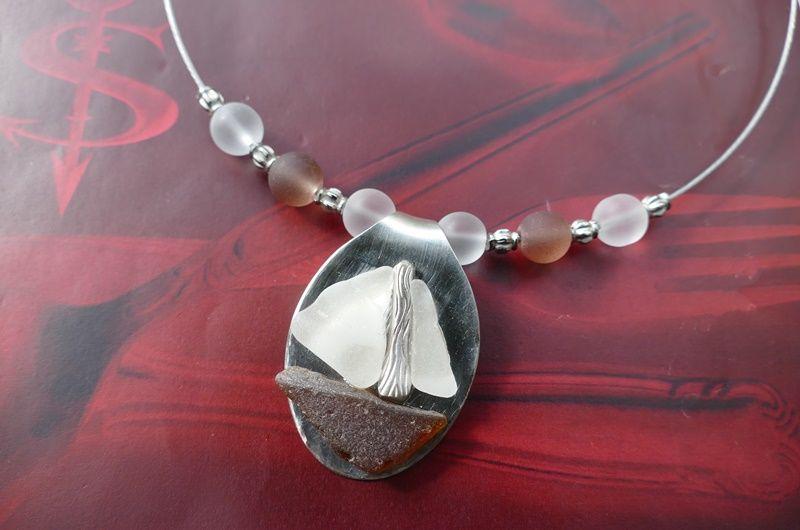 Kleinesbild - Besteckschmuck Anhänger *LITTLE BOAT* ♥ Kaffeelöffel Meerglas Seeglas Boot Meer Strand Stahlband