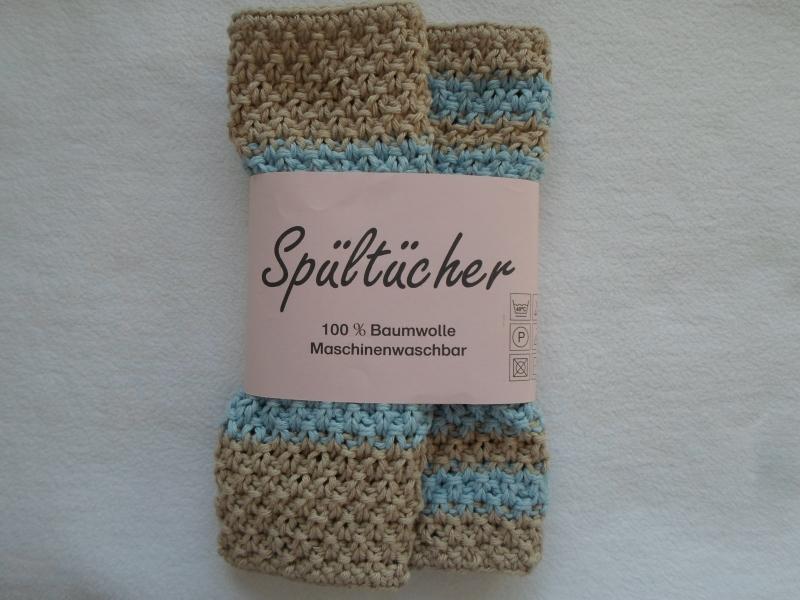 Kleinesbild - Spültücher im Zweierpack in Pastelltönen (hellblau/beige) gestreift aus reiner maschinenwaschbarer Baumwolle im Perlmuster handgestrickt