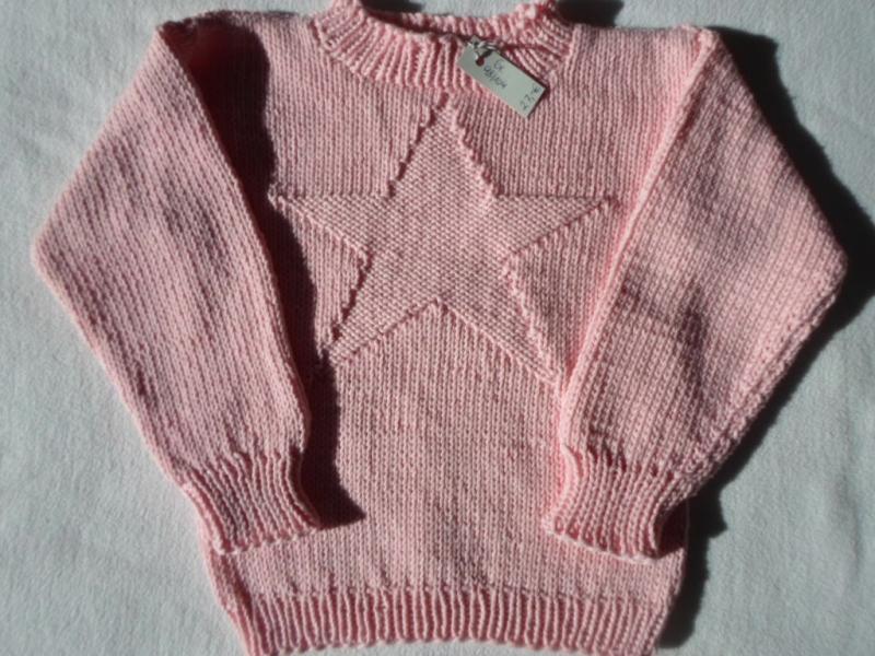 - Gr.98/104 Kinderpullover in rosa mit eingestricktem Stern aus reiner Baumwolle handgestrickt - Gr.98/104 Kinderpullover in rosa mit eingestricktem Stern aus reiner Baumwolle handgestrickt