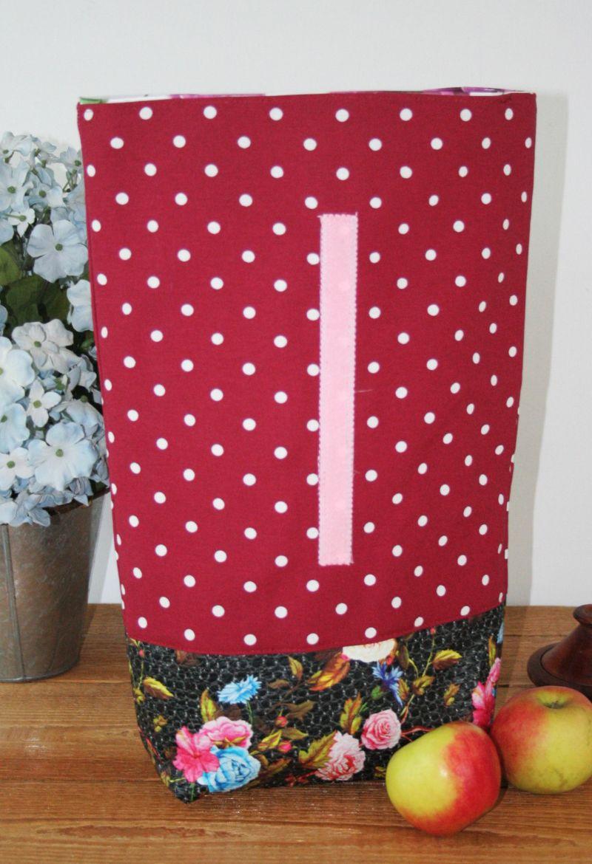 Kleinesbild - Lunchbag  Brotbeutel Utensilo  zero waste Kosmetiktasche Blumen Punkte