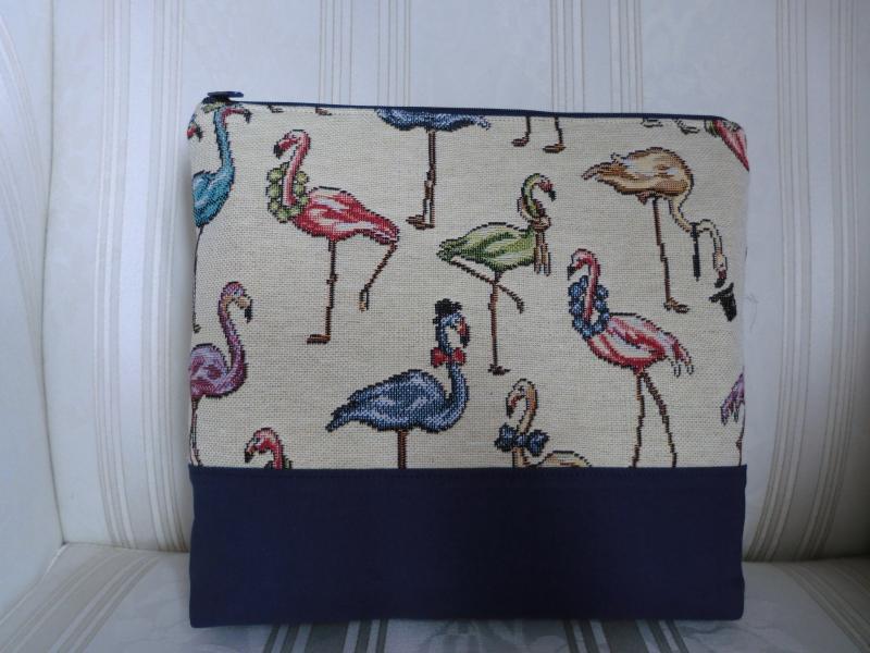 - Kulturtasche - Kulturbeutel - Kosmetiktasche - Projekttasche - mit  Flamingos - genäht ☆ von Patchwerk ☆ - Kulturtasche - Kulturbeutel - Kosmetiktasche - Projekttasche - mit  Flamingos - genäht ☆ von Patchwerk ☆
