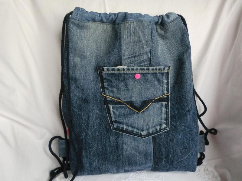 Kleinesbild - Rucksack - Turnbeutel - Sportbeutel - Festivalbag - zero waste - Jeans recycelt - genäht von Patchwerk