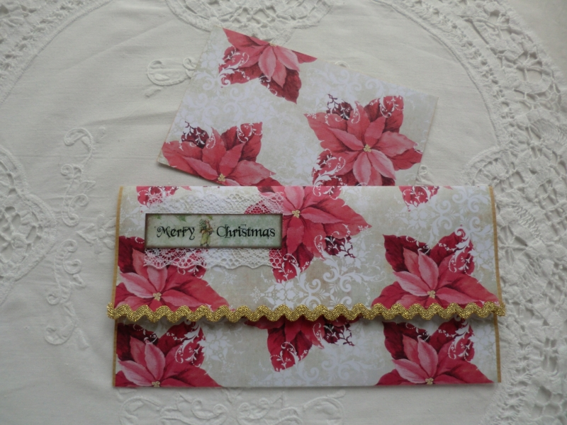 Kleinesbild - Kuvert mit Karte - für Geld / Gutscheingeschenke - Weihnachtsmotiv - von patchwerk