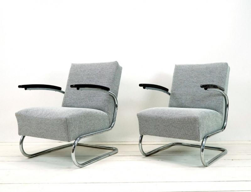 Restaurierte Bauhaus Sessel Freischwinger Bezogen Mit Stoff In Grau