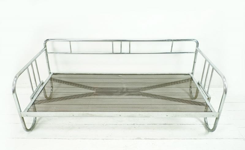 Kleinesbild - BAUHAUS SOFA VINTAGE TAGESBETT mit Schlaufenfüßen aus den 1930er mit Designerstoff Knoll Delite Türkis