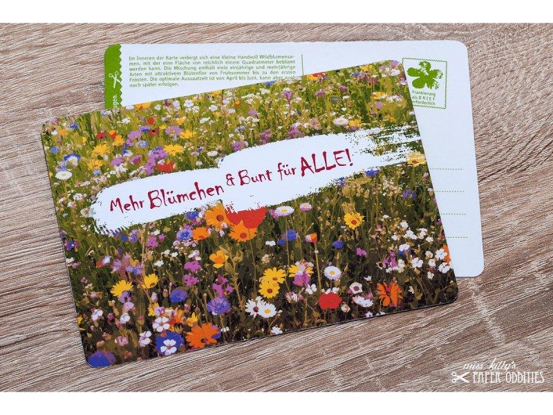 - Postkarte »Mehr Blümchen und Bunt für ALLE!«, gefüllt mit Wildblumensamen - Postkarte »Mehr Blümchen und Bunt für ALLE!«, gefüllt mit Wildblumensamen