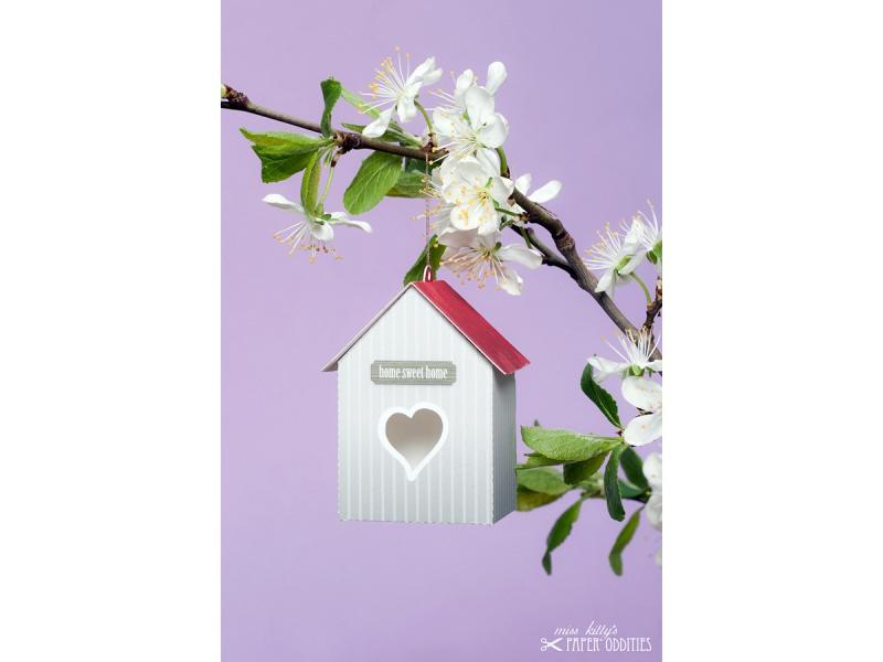 Kleinesbild - Grußkarte »Vogelhaus« mit heraustrennbarem Bastelbogen — 03.graubraun