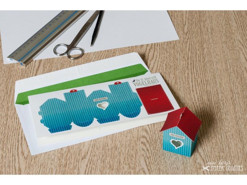 - Grußkarte »Vogelhaus« mit heraustrennbarem Bastelbogen — 11.grünblau - Grußkarte »Vogelhaus« mit heraustrennbarem Bastelbogen — 11.grünblau