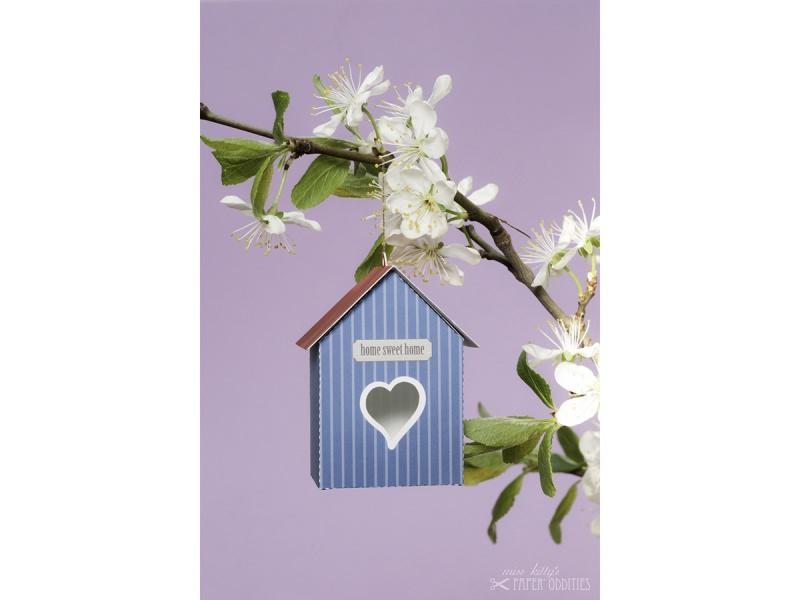 Kleinesbild - Grußkarte »Vogelhaus« mit heraustrennbarem Bastelbogen — 12.dunkelblau