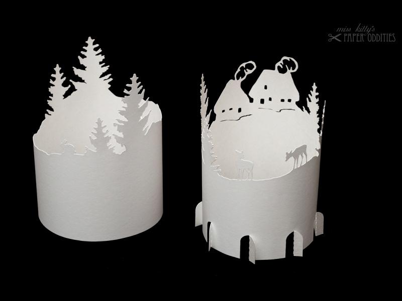 Kleinesbild - Windlicht-Bastelbogen »Bergdorf« zum Beleuchten mit einem (LED)-Teelicht