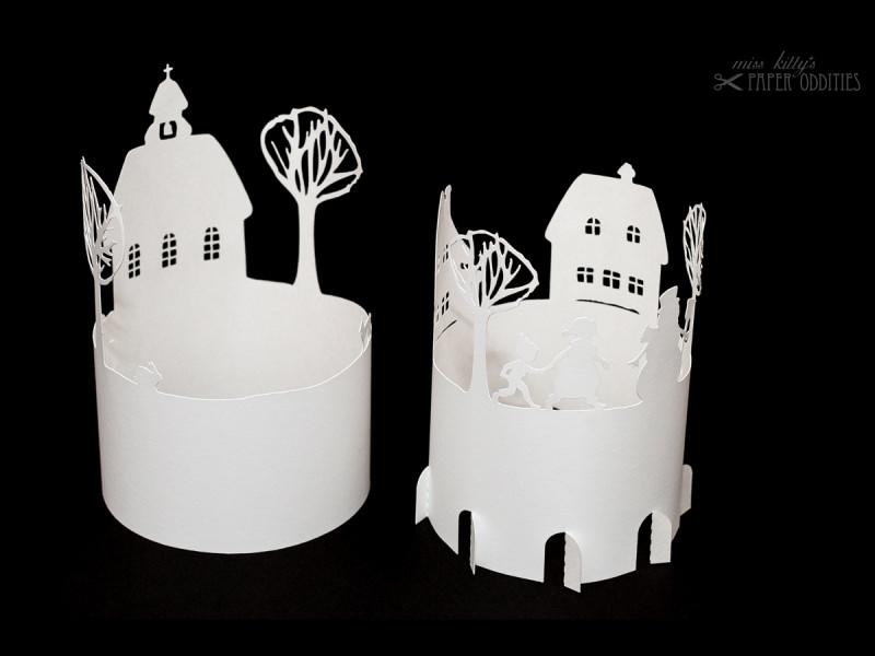 Kleinesbild - Windlicht-Bastelbogen »Winterzeit« zum Beleuchten mit einem (LED)-Teelicht