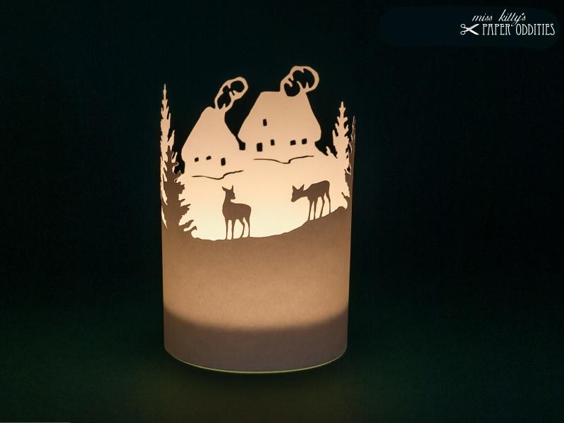 - Windlicht-Bastelbogen »Bergdorf« 1-tlg. zum Beleuchten mit einem (LED)-Teelicht - Windlicht-Bastelbogen »Bergdorf« 1-tlg. zum Beleuchten mit einem (LED)-Teelicht