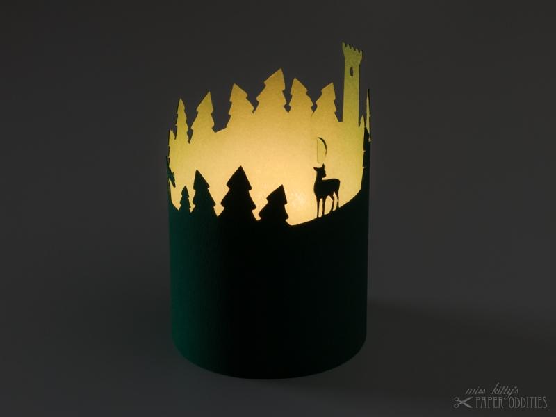Kleinesbild - Windlicht-Bastelbogen »Thüringer Wald« zum Beleuchten mit einem (LED)-Teelicht