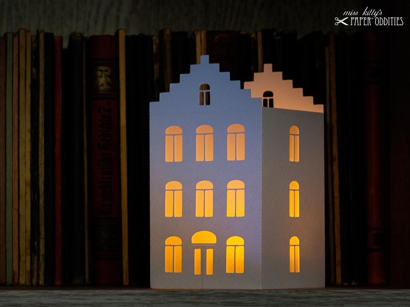 Kleinesbild - Windlicht-Bastelset »Lichterstadt II« zum Beleuchten mit LED)-Teelichtern