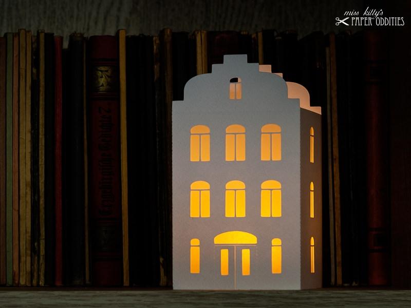 Kleinesbild - Windlicht-Bastelset »Lichterstadt I« zum Beleuchten mit (LED)-Teelichtern