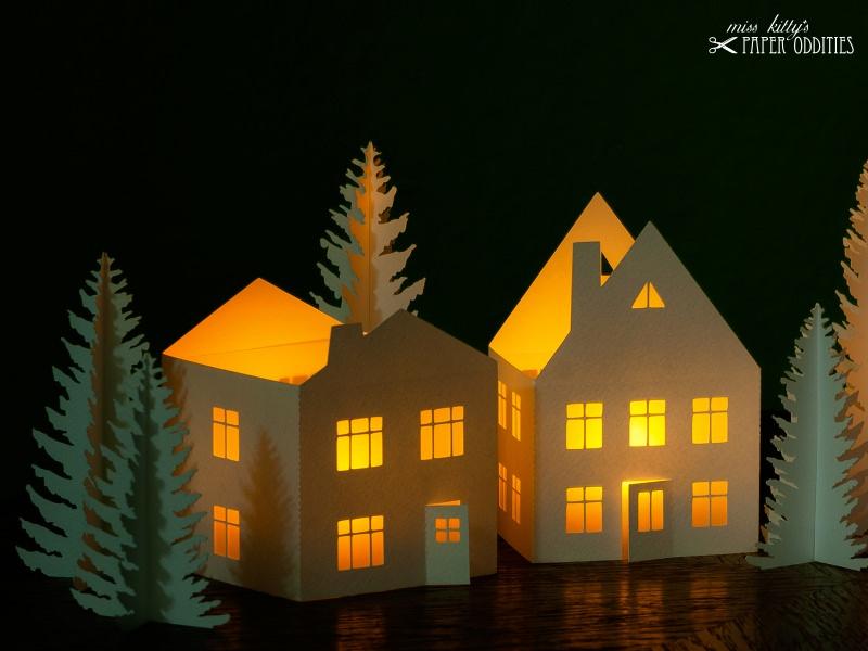 Kleinesbild - Windlicht-Bastelset »Lichterdorf« zum Beleuchten mit (LED)-Teelichtern