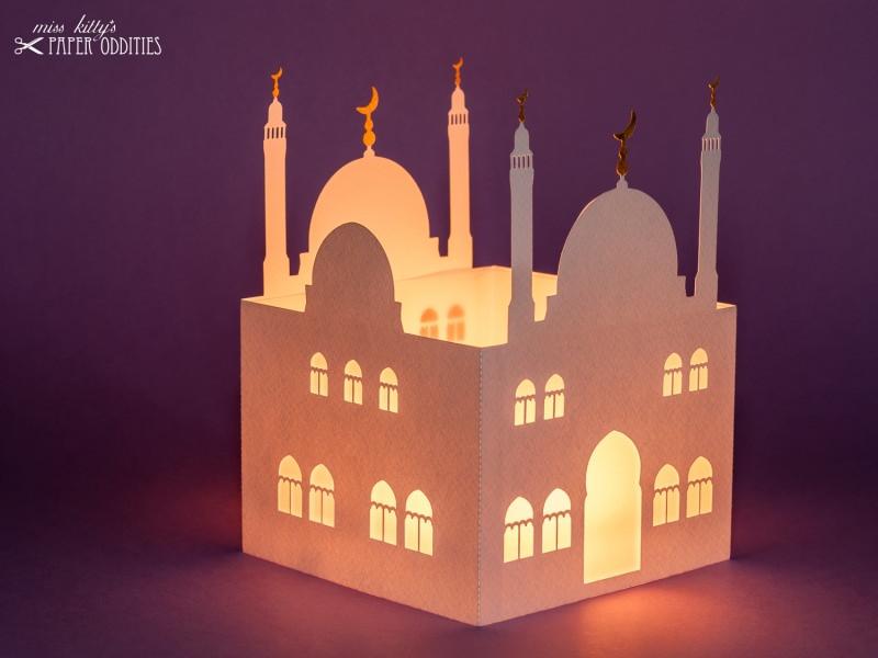 Kleinesbild - Windlicht »Moschee« mit goldenen Halbmonden, zum Beleuchten mit einem (LED)-Teelicht