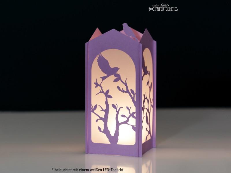 Kleinesbild - Windlicht-Bastelset »Frühlingserwachen« — 03.lila, zum Beleuchten mit einem (LED)-Teelicht