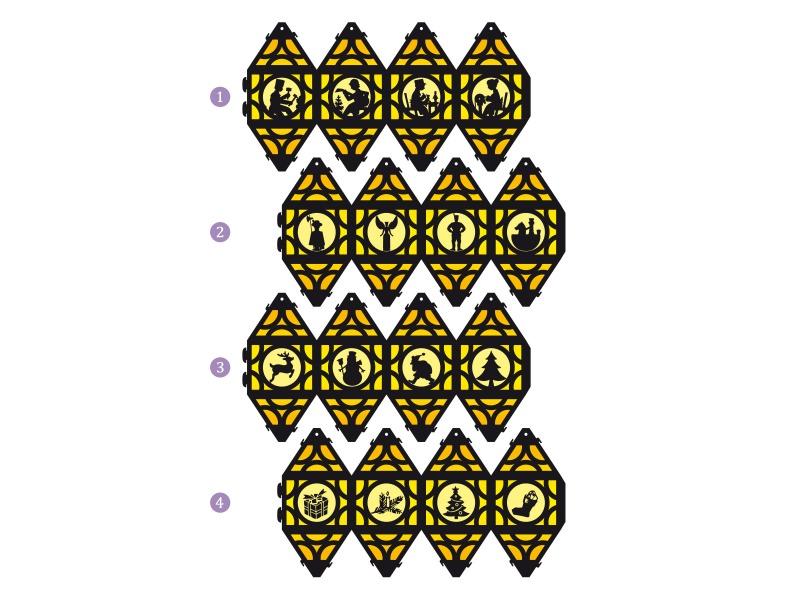 Kleinesbild - Weihnachtliche Papierlaterne — 02.gelb