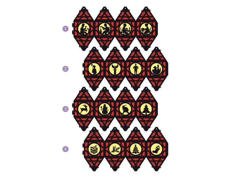 Kleinesbild - Weihnachtliche Papierlaterne — 04.rot